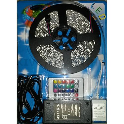 LED szalag 14,4W/m 12V RGB szett IP65 16 szín + távirányító + 5A trafó