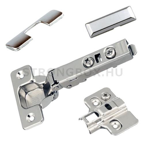 Strong push kivetőpánt plus rugó nélkül rázáró 110° klip+excenteres talp+takarók (szett)