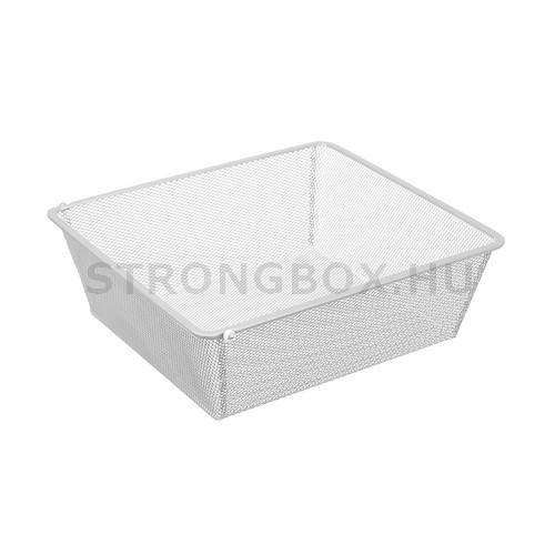Drót kosár belső fiók sűrű rácsos fehér 436x494x160mm